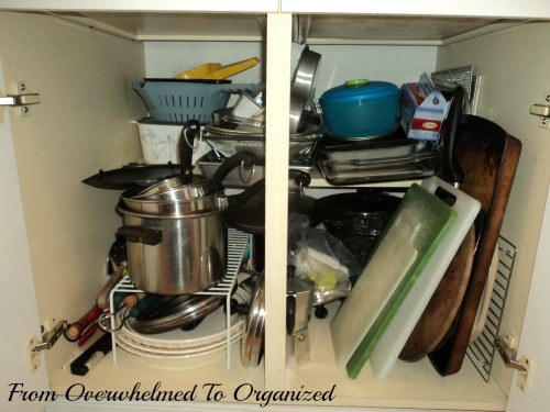Pots and Pans Cupboard Before
