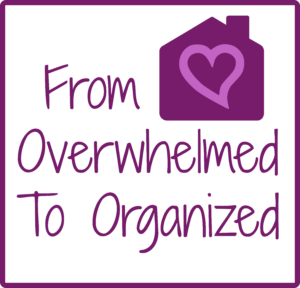 Purple text reading From Overwhelmed To Organized. Purple image of a house with a lighter purple heart inside it.
