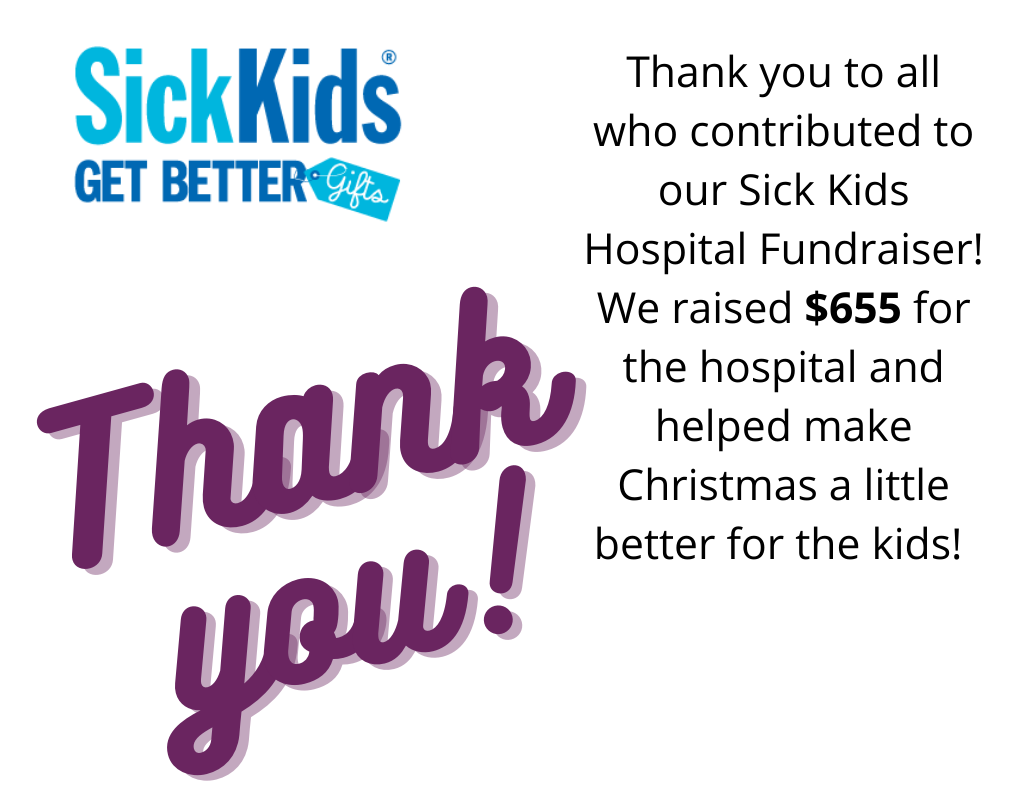 Image thanking people who contributed to the Sick Kids Hospital Fundraiser